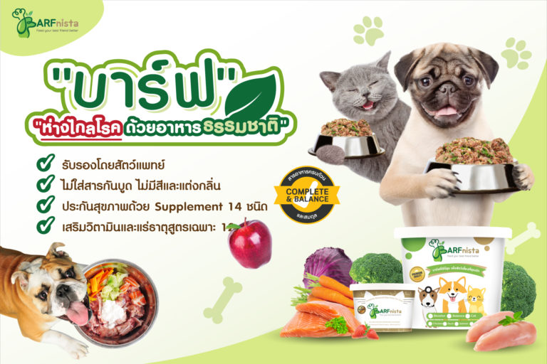 อาหารบาร์ฟ อาหารสดดิบจากธรรมชาติ หมาแมวทานแล้วห่างไกลโรค