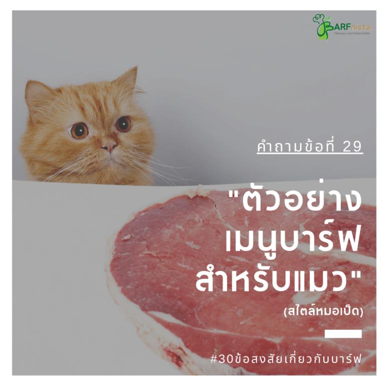 ตัวอย่างเมนูบาร์ฟสำหรับแมวทุกช่วงวัย
